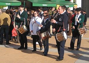 Basque musicians playing txistu (pipe) and drums-from Wikipedia