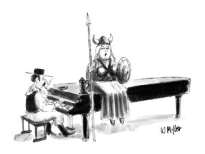 singer in operatic viking costume sits atop piano with piano player New Yorker cartoon Warren Miller