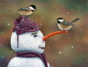 winter-snowman-and-birds
